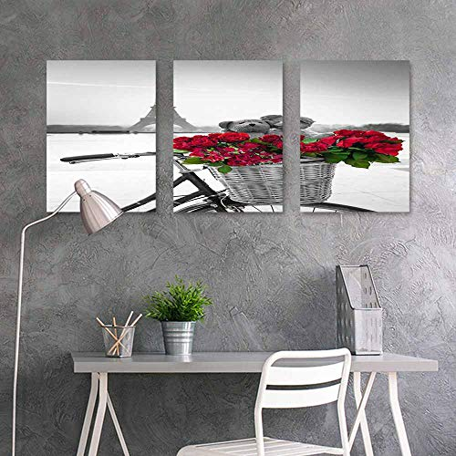 BDDLS Canvas Print Artwork,Paris Tower for Home Decoration Wall Decor 3 Panels,16x24inchx3pcs Roses in The Bicycle Basket