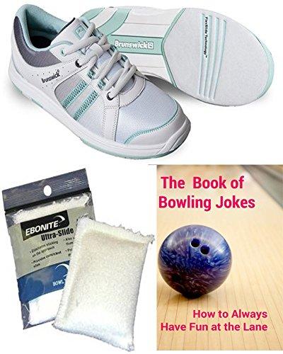 Brunswick Damen Sienna Bowlingschuhe Weiß / Grau / Eierschale, Ebonite Ultra Slide Powder & Das Buch der Bowling Witze