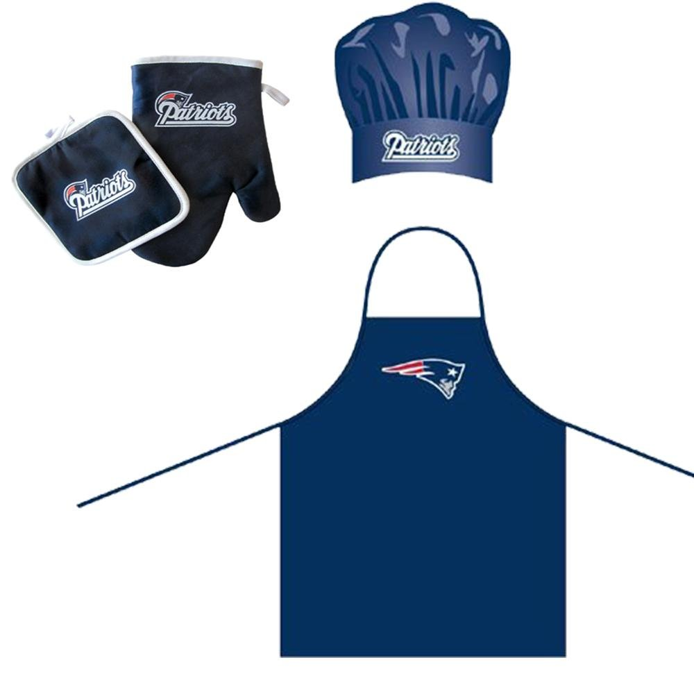 Pro Specialties Group NFL New England Patriots Team Logo Barbeque Apron, Chef's Hat and Pot Holder Deluxe Set