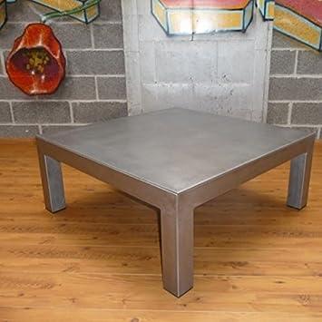 Artisan Table Basse Metal Brosse Carree Table Usine Dim 120 X