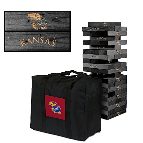 NCAA Kansas Jayhawks Kansas Onyx Stained Giant Wooden Tumble Tower Game, Multicolor, One Size by Victory Tailgate