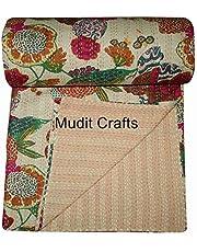 MUDIT CRAFTS Indische katoen Kantha Quilt gooien deken sprei Vintage gooien Gudari katoen handgemaakte Kantha Quilt (Beige Fruit)