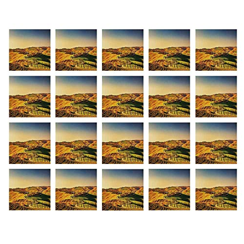 - YOLIYANA Italy Waterproof Ceramic Tile Stickers,Tuscany Crete Senesi Rural Landscape Cypress Trees Country Farmland Europe Decorative for Kitchen Living Room,One Size