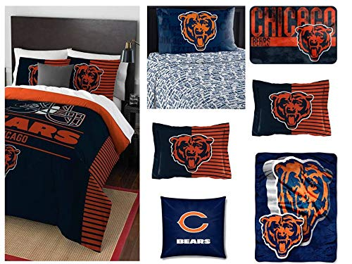 - Northwest NFL Chicago Bears Ultimate 10pc Ensemble:Includes Full/Queen Comforter, 2 Shams, Full Flat Sheet, Full Fitted Sheet, 2 Pillowcases, Rug, toss Pillow, and Oversized Throw