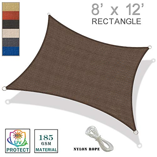 SUNNY GUARD 8' x 12' Brown Rectangle Sun Shade Sail UV Block for Outdoor Patio ()