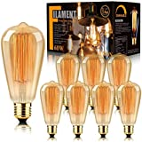 8-Pack Edison Bulbs Antique Vintage Style Light Bulb Dimmable Amber Warm 60W E26 Base for Wall Sconce Chandelier Retro Fixtur