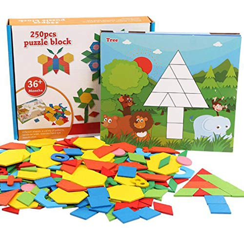 MorTime 250 Pcs Wooden Pattern Blocks and Boards Set, Sturdy Play Board with 10 Double-Sided Jigsaw -