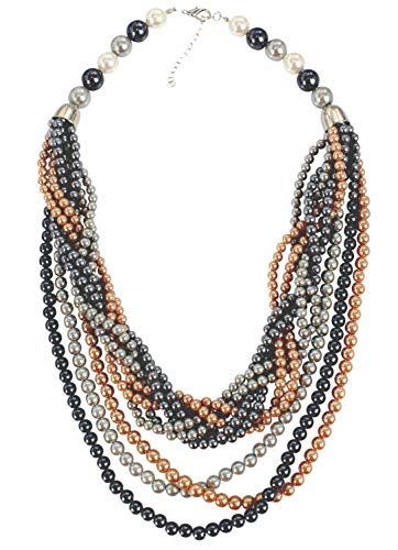 H-CXLY Elegant Simple Multicolor Twisted Multilayer Handmade Faux Pearl Beaded Cluster Collar Bib Choker Necklace and Earring (Style # 3)