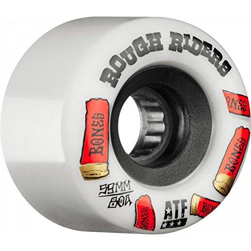 Bones Wheels Rough Riders 80a Skateboard Wheels (White - Shotgun, 59mm)