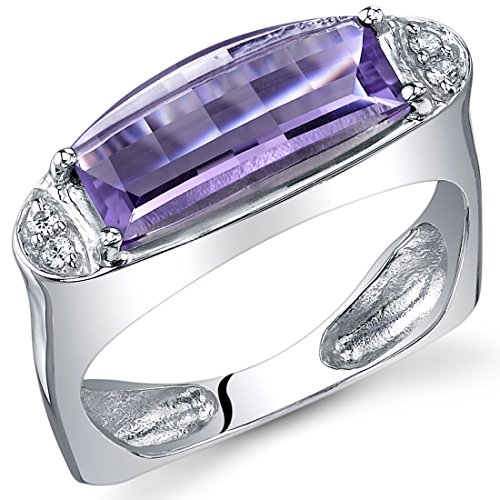 Amethyst Ring Sterling Silver Barrel Cut 2.00 Carats Size 8
