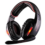 Image of Sades SA902 7.1 Channel Virtual USB Surround Stereo Wired PC Gaming Headset Over Ear Headphones with Mic Revolution Volume Control Noise Canceling LED Light (Black/Red)