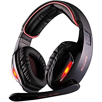 amazon com hyperx cloud stinger gaming headset for pc xbox one¹ sades sa902 7 1 channel virtual usb surround stereo wired pc gaming headset over ear headphones mic revolution volume control noise canceling led light