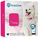 Tractive GPS Tracker for Dogs and Cats - waterproof pet finder collar attachment - Pink Edition