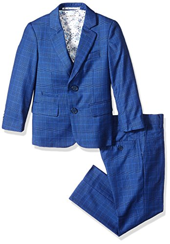 Isaac Mizrahi Boys' Little 3-Piece Glen Plaid Suit, Navy 2