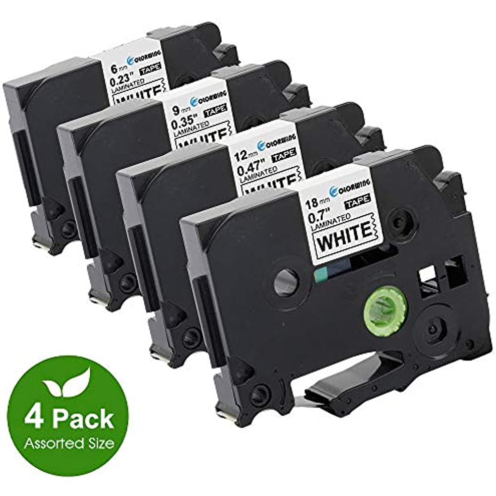 5 PK 1//4/'/' Black on White Tape For Brother TZ-211 TZe-211 P-touch Lable Printer