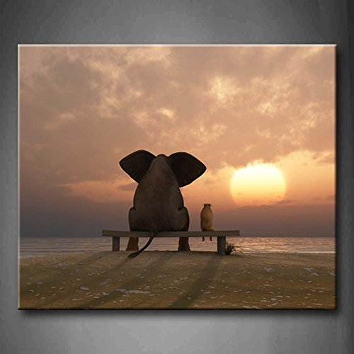 First Wall Art - Elephant And Dog Sit On A Summer Beach Wall