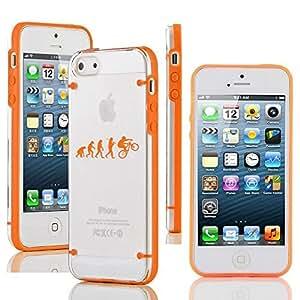 "Apple iPhone 6 (4.7"") Ultra Thin Transparent Clear Hard TPU Case Cover Evolution Mountain BMX Bike (Orange)"