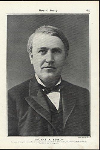 Thomas Alva Edison American Inventor Pioneer Genius 1901 antique historic print