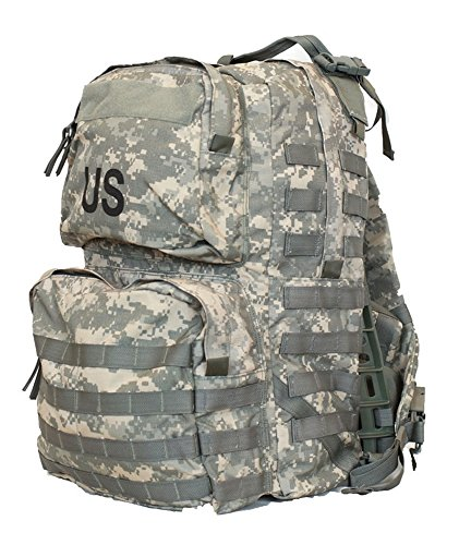 FULLY LOADED US Army Military Tactical MOLLE II Camo Camouflage ACU MEDIUM RUCKSACK Bag Sack + 4 POUCHES (Communication, Admin, 2 40mm High Explosive Pouch) + PATCHES GI USGI NSN ()