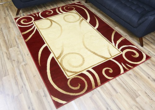 NEW Modern Burgundy Cream Beige Swirl Design Rug Contemporary Bordered Carpet Machine Made Area Rug 7 by 10