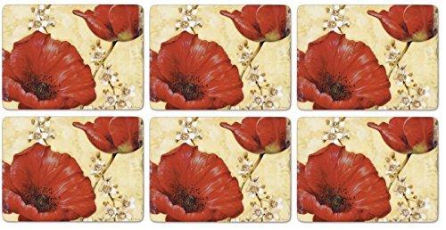 Pimpernel Poppy De Villeneuve Placemats - Set of 6 by Pimpernel - Pimpernel Poppies