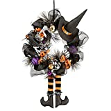 Halloween Wreath Door Hanger With Witch Hat Legs Pumpkin Black Ribbon Berries Gourds