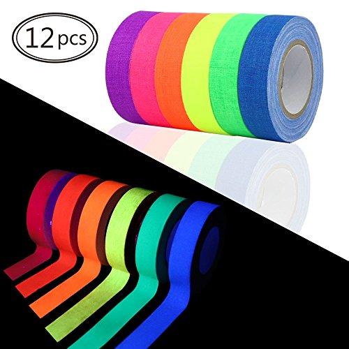 HEHALI 12 Pack Tape UV Blacklight Reactive,6 Colors, 30ft Per Roll, Fluorescent Cloth Tape/Neon Gaffer Tape by HEHALI
