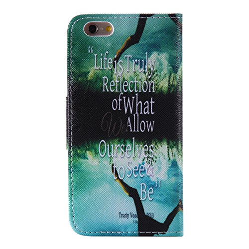 "iPhone 6 / iPhone 6S (4.7"") Coque , Apple iPhone 6 / iPhone 6S (4.7-inch) Coque Lifetrut® [ The reflection of the sky ] Luxe Premium Portefeuille Flip mignon Coque TPU souple Folio en cuir PU intégré"