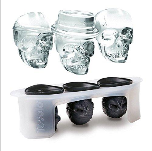 Cráneo Hielo Molde Silicona Pequeño cráneo hornear Halloween grande Whisky Hielo y 3pelotas, Negro
