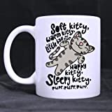 Artsadd Funny Cat Mug - Hotstyle Soft Kitty Song 11 Ounce White Ceramic Coffee Tea Mug Cup