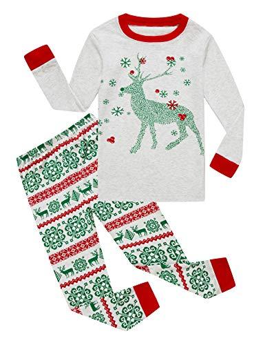 Family Feeling Little Girls Boys Long Sleeve Christmas Pajamas Sets 100% Cotton Pyjamas Kids Pjs Size 6 Reindeer