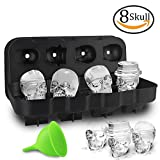 HoneyHolly 3D Skull Ice Cube Mold With Lid, Flexible Food Grade Silicone Ice Cube Chocolate Candy Mold Trays, Perfect For Kids Halloween Gifts, BPA Free - 8 Skull Black