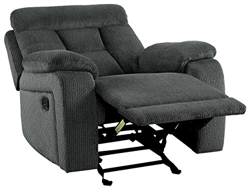 Homelegance Manual Rosnay Glider Reclining Chair, Gray Fabric