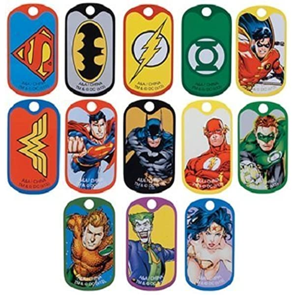 LOT OF 24 DC COMICS DOG TAGS 2 DOZEN KEYCHAINS BATMAN VS SUPERMAN WONDER WOMAN