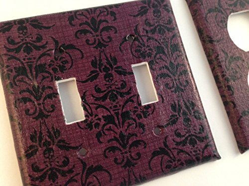 Black Plum Skull Damask Light Switch Cover - Various Size Switchplates offered
