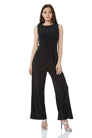 10885d34c21 Roman Originals Women Embellished Jersey Jumpsuit - Ladies Wide Leg  Sleeveless Going Out Party Cocktails Evening Holiday Cruise - Black - Size  18  ...