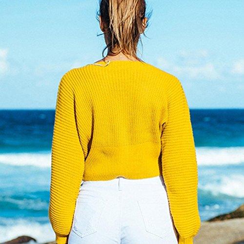HARRYSTORE Las mujeres Knit Vendaje Sweater Knitting Ultra Suéter Suéter Elástico Suelto Amarillo