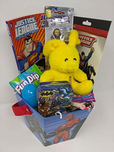Happy Easter Basket GIANT Kids Toddlers Gift Children Pre Made Eggs Goodies Candy Baskets Action Figure Coloring Book Puzzle Pez Justice Leaque Batman Superman Egg Applique Flag