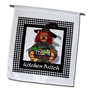 3dRose fl_34147_1 Little Kitchen Witch Garden Flag, 12 by 18-Inch