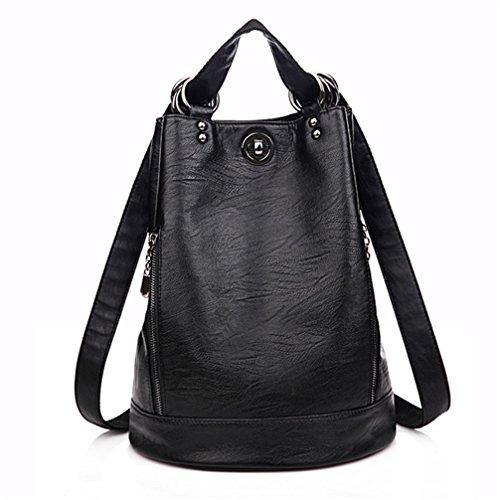 Moda Mujer Mochila multifunción de cuero pu Bagpack Negro bolso de viaje mochila al hombro Negro