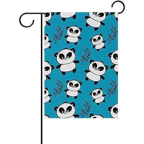 Garden Flag Decorative Black White Panda Bamboo Blue Polyester Welcome Gardon Flag - Best for Party Yard and Home Outdoor Decor - 12x18 -