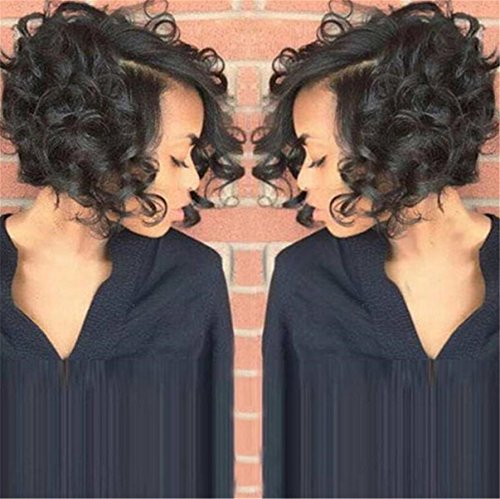 [ATOZWIG Synthetic Short Wigs for Black Women Female Cut Wig Heat Resistant Synthetic Wigs Women Short Curly] (Cheap Color Wigs)