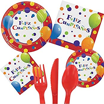 Spanish Feliz Cumpleanos Happy Birthday Party Pack Set Serves 16 Children Adults – Luncheon & Dessert Paper Plates, Napkins & Cutlery – Disposable ...