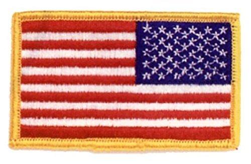 - 2 REVERSE BACKWARDS USA American Flag Uniform Shirt Shoulder Jacket Patch