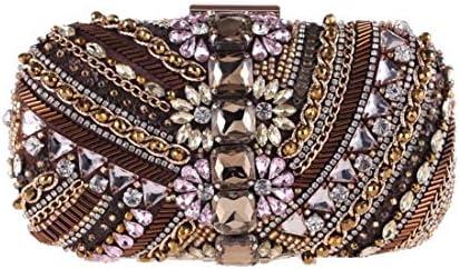 ハンドバッグ、ビーズのイブニングバッグ、ダイヤモンドクラッチ、財布ショルダーバッグ、(色:コーヒー) 美しいファッション