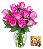 #3: KaBloom Valentine's Day Special: Sweet Pink Bouquet of 12 Fresh Cut Pink Roses (Long Stemmed) with Vase and One Box of Lindt Chocolates