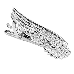 BodyJ4You Tie Bar Clip For Men Business Accessory Unique Necktie Wing Tie Pin Silvertone Gift Box