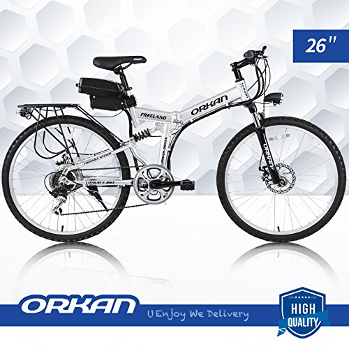ORKAN 26'' Floding E-Bike 7 Speeds Floding Electric Bike 250W Electric Suspension Montain Bike 36V / 1.8A