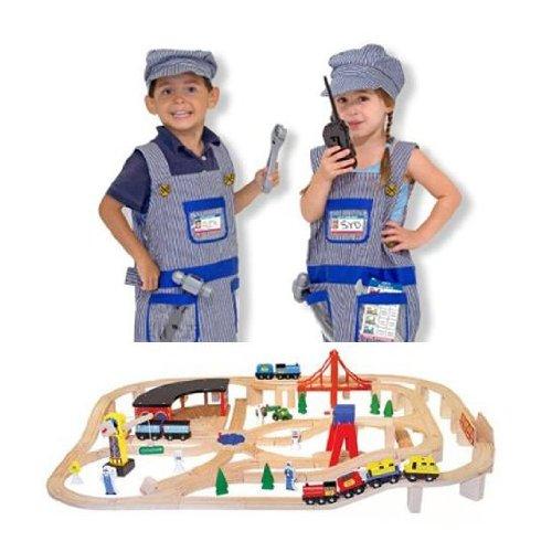 - Wooden Railway Set and Train Engineer Costume