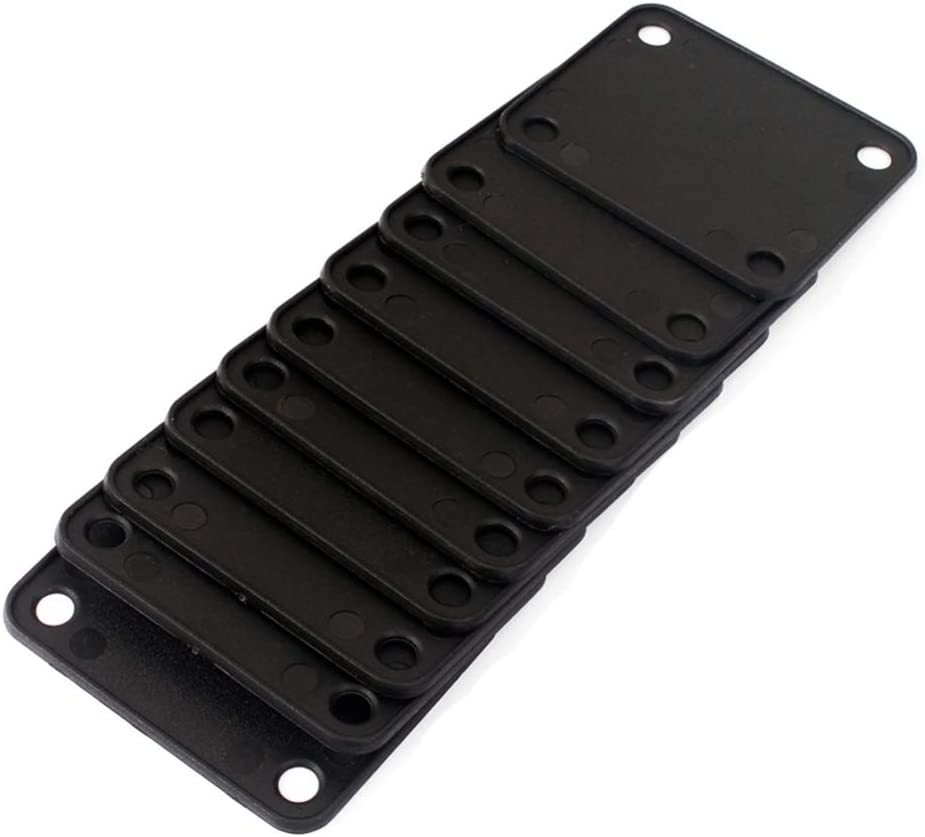 Artibetter 10pcs Plastic Guitar Neck Plates with Screws for Strat Tele Guitar Jazz Bass Replacement Parts Black
